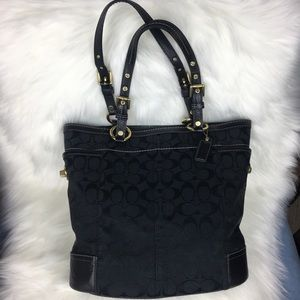 Coach Large Black Gallery Signature Tote
